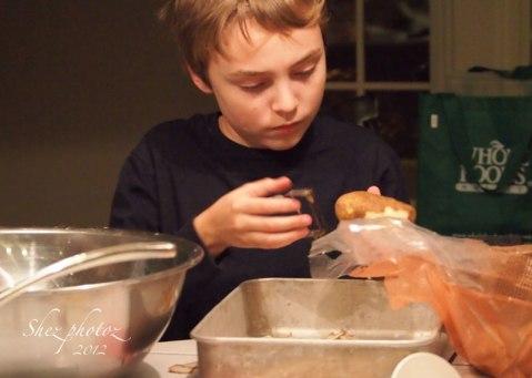 Peeling potatoes.